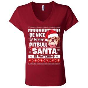 Be Nice To My Pitbull Santa Is Watching V-Neck Tee 11