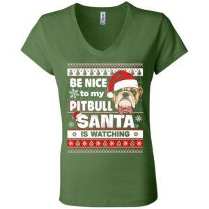 Be Nice To My Pitbull Santa Is Watching V-Neck Tee 9