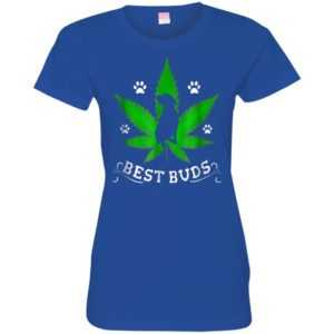 Best Buds Funny Pitbull Weed Dog Fitted Tee -